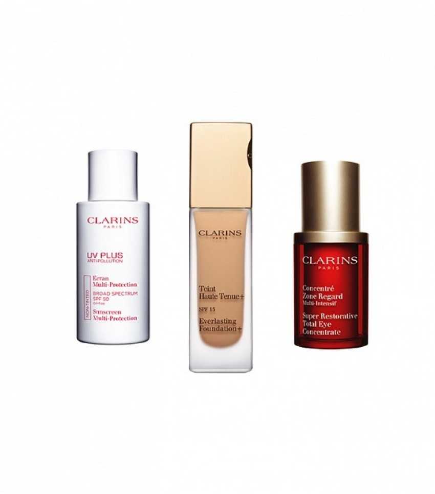 Clarins' Total Eye Concentrate, UV Plus Anti-Pollution Broad Spectrum SPF 50 i Everlasting Foundation SPF 15