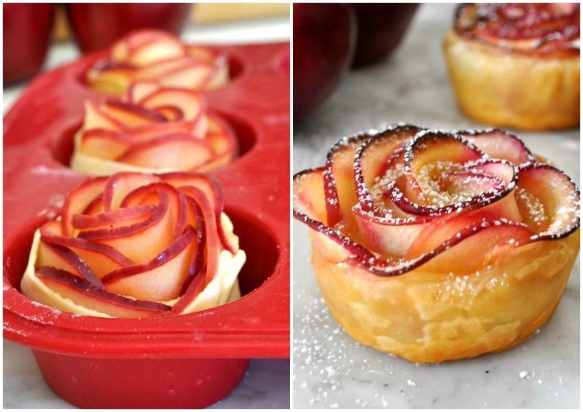 Kalup i gotova jabučna ruža