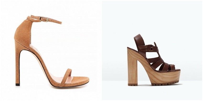 Stuart Weitzman Nudist Sandals/ Zara Leather High Heel Sandal