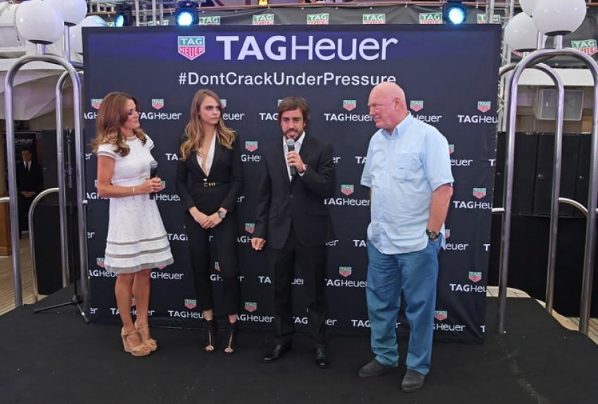 Natalie Pinkham, Cara Delevingne, Fernando Alonso i Jean-Claude Biver, CEO of TAG Heuer