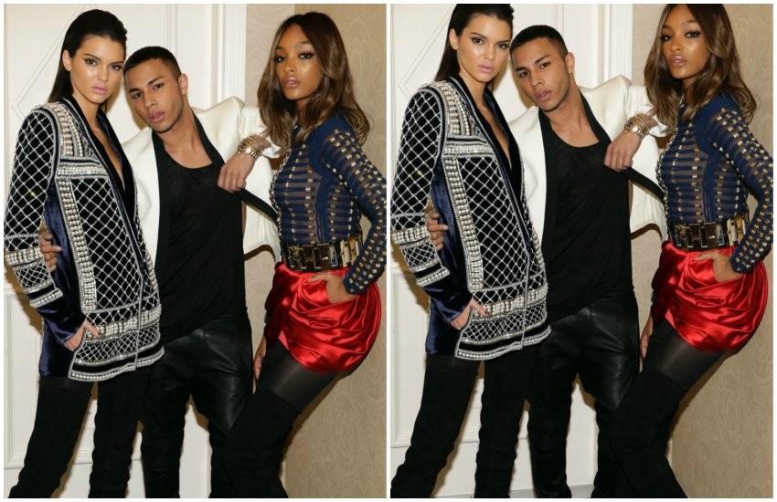 Olivier Rousteing pozira s Kendall Jenner i Jourdan Dunn u Balmain x H&M kolekciji