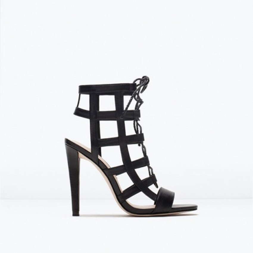 Zara Leather Wraparound High Heel Sandals
