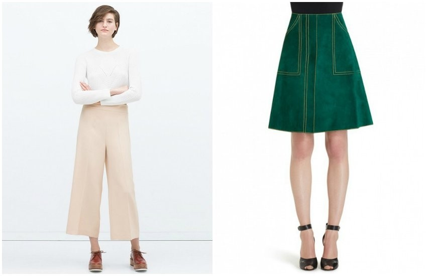 Zara Cropped High Waisted Trousers / Derek Lam Suede A-Line Skirt