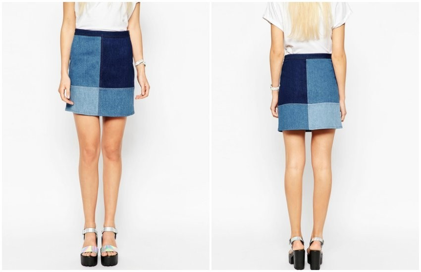 ASOS Denim Patchwork Mini Skirt