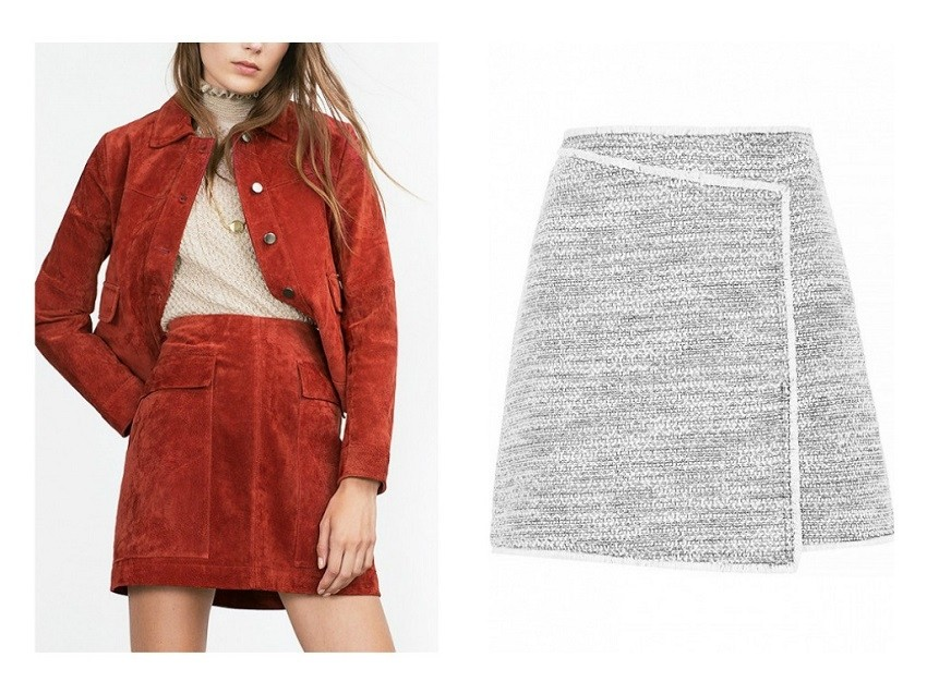 Zara Suede Skirt / Topshop Wrap Front Boucle Skirt