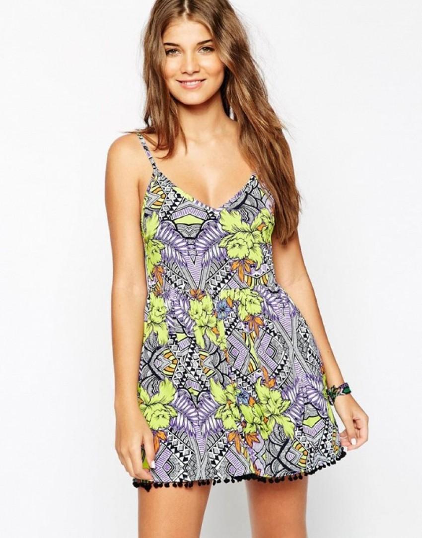 ASOS Tropical Print Pom Pom Beach Romper ($27)