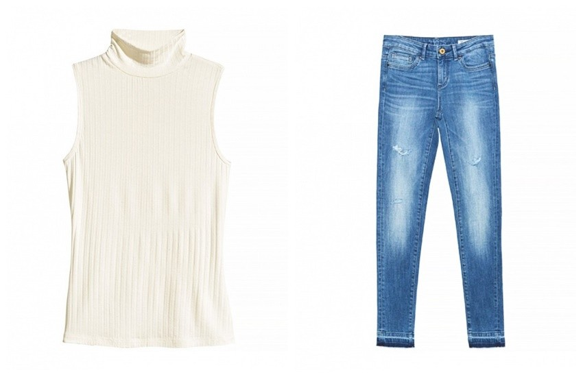 H&M Sleeveless polo-neck top (69,90 KN) + Zara Distressed Jeans (229.90 HRK)