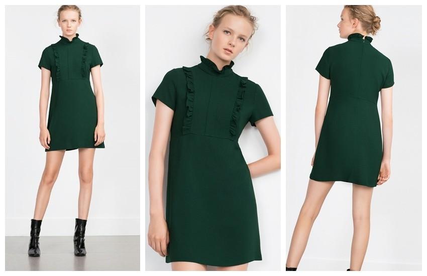 Zara Green Short Sleeve Dress