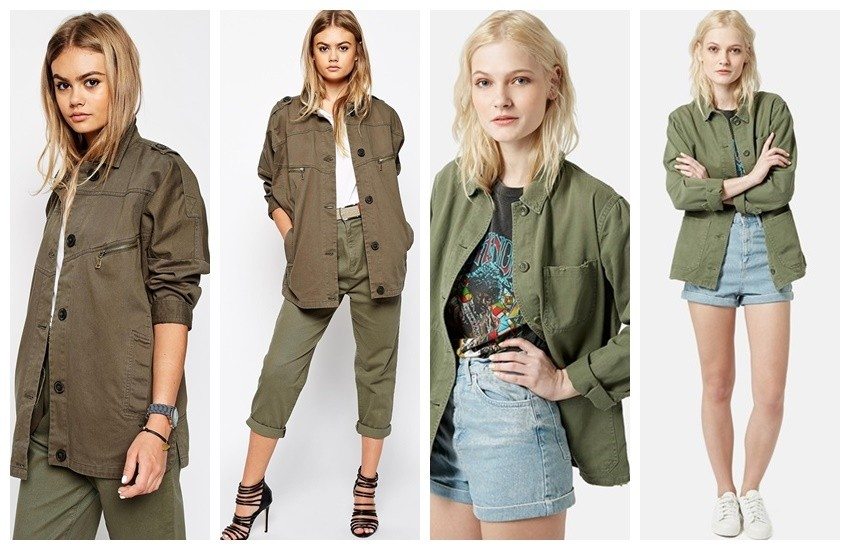 ASOS Jacket With Utility Detail In Washed Cotton /  Topshop 'Saunders' Long Shirt Jacket