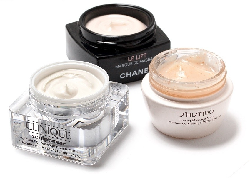 Clinique Sculptwear Contouring Massage Cream Mask, Chanel Le Lift Recontouring Massage Mask, Shiseido Firming Massage Mask