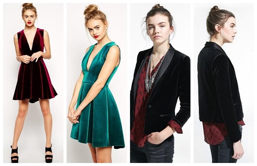 ASOS Bonded Velvet Deep Plunge Skater Dress / Mango Velvet Blazer