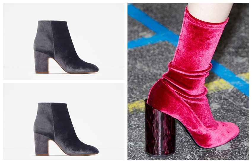 Givenchy Runway / Zara Velvet Ankle Bootie