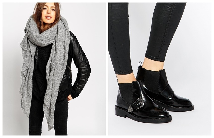 ASOS Oversized Knit Scarf / ASOS ARKANSAS Leather Western Boots