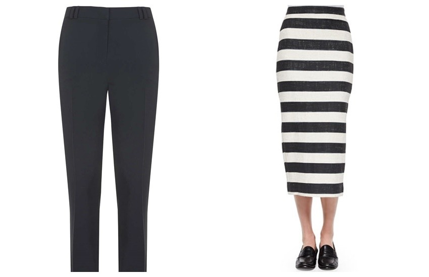 Topshop Cigarette Pants / A.L.C.  Guy Striped Pencil Midi Skirt