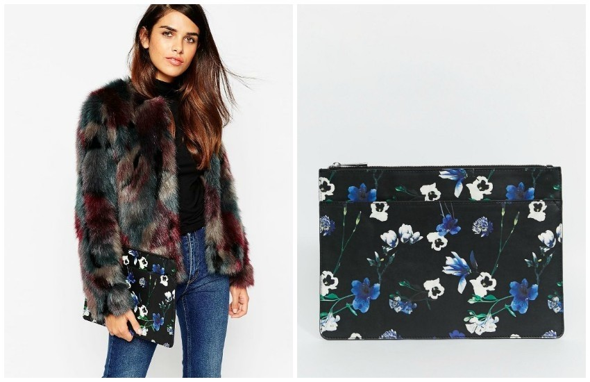 ASOS Oversized Floral Zip Top Clutch Bag $27.00