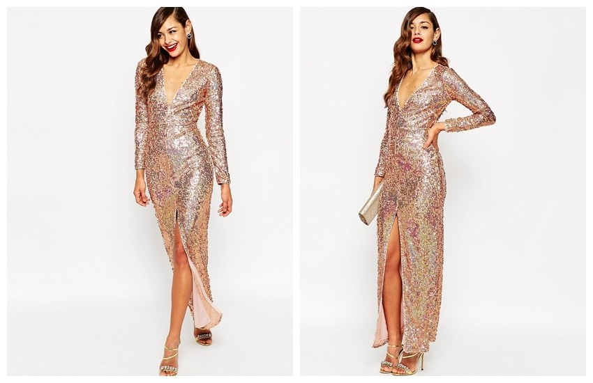 ASOS RED CARPET Ultra Plunge Embellished Maxi Dress €125.00