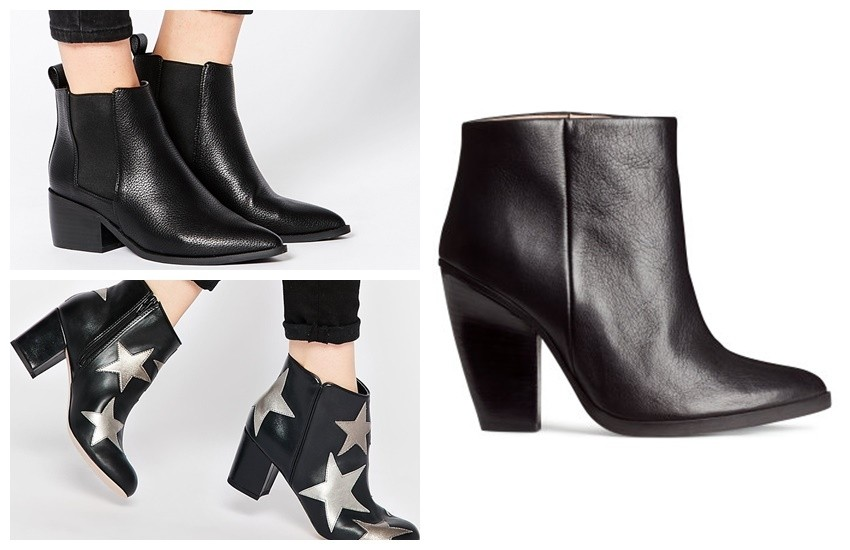 ASOS RIGHT ABOUT NOW Western Pointed Chelsea Ankle Boots €55.88, ASOS REWARD Ankle Boots $56.50, H&M Leather Ankle Boots $99