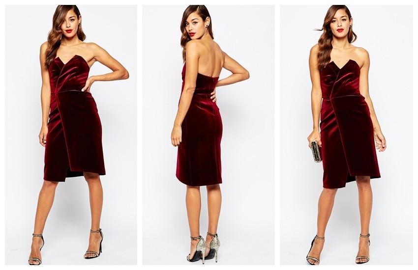 ASOS Velvet Asymmetric Bandeau Midi Dress €85.29