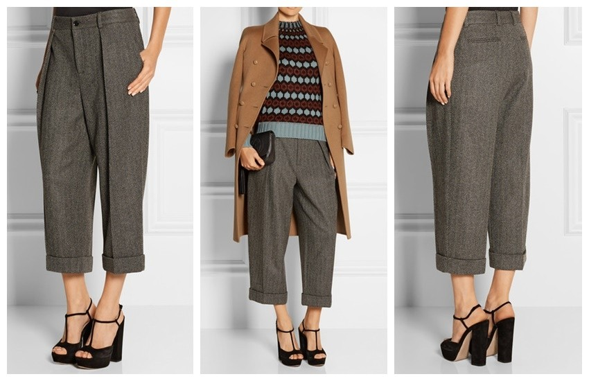 GUCCI Cropped herringbone wool-blend wide-leg pants £650