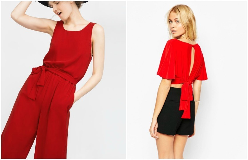 ZARA FANCY CROPPED JUMPSUIT / ASOS Love Plunge Front Crop Top With Scarf Detail Back