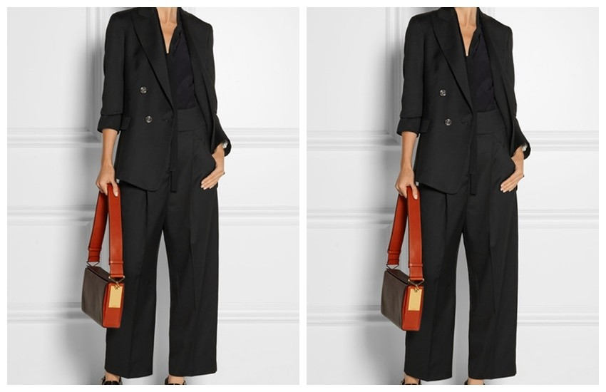 Temperley London Isaac Double-Breasted Wool Blazer ($1275), Isaac Wool-Twill Vest ($575), and Isaac Wide-Leg Pants ($595)
