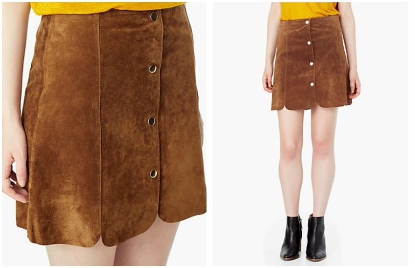 Mango Scallop Edge Leather Skirt