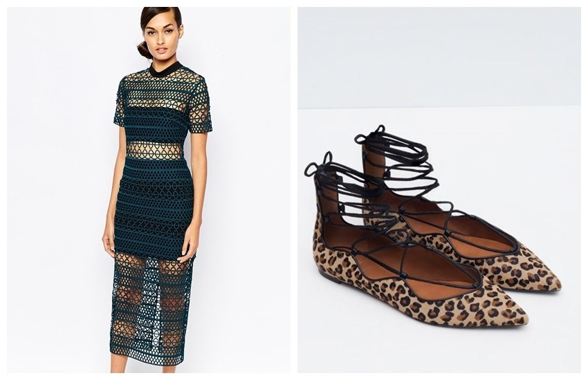 Self Portrait Column Midi Dress €380.27 /// ZARA PRINTED LEATHER LACE-UP BALLERINAS 199.90 HRK