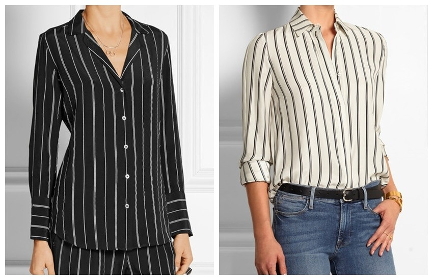 EQUIPMENT May striped washed-silk shirt // FRAME DENIM Le Classic striped washed silk-charmeuse shirt