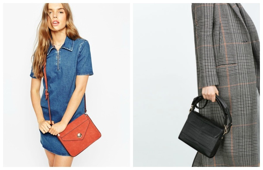 ASOS 70s Cross Body Bag With Dome Fitting // ZARA Mock Croc City Bag