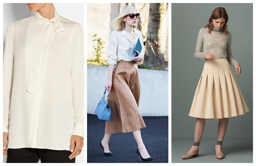 Theory Yumcha Pussy-Bow Blouse // Finery Kenbury Full Bonded Skirt