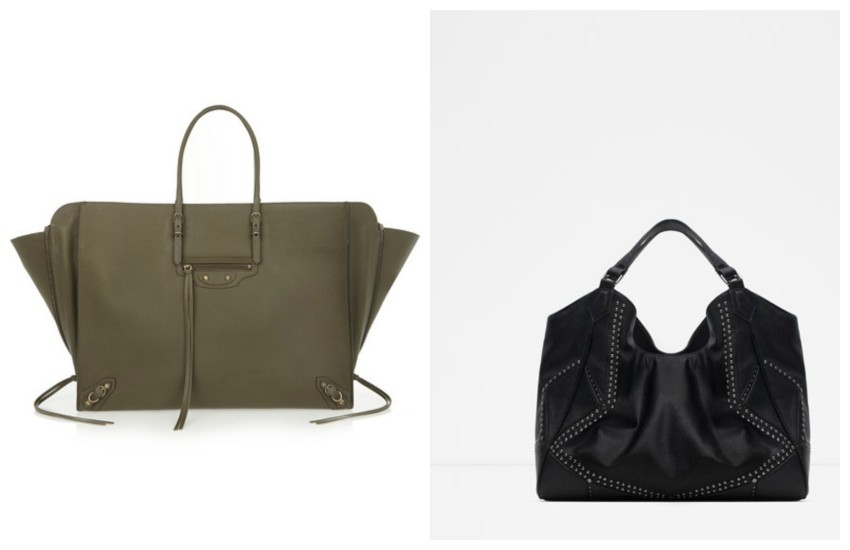 Balenciaga Papier A4 textured-leather tote // ZARA STUDDED BAG