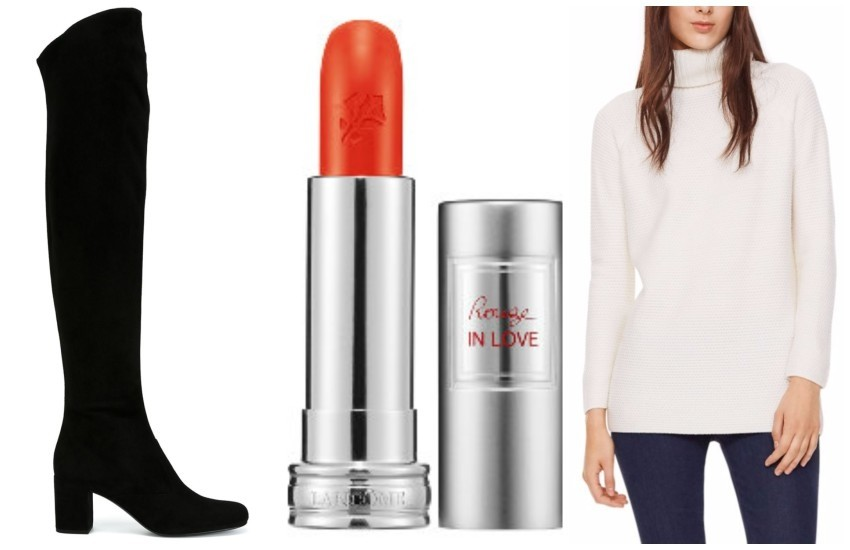SAINT LAURENT  thigh high boots // Lancôme ROUGE IN LOVE Lipcolor // Tory Burch WOOL OVERSIZED TURTLENECK SWEATER