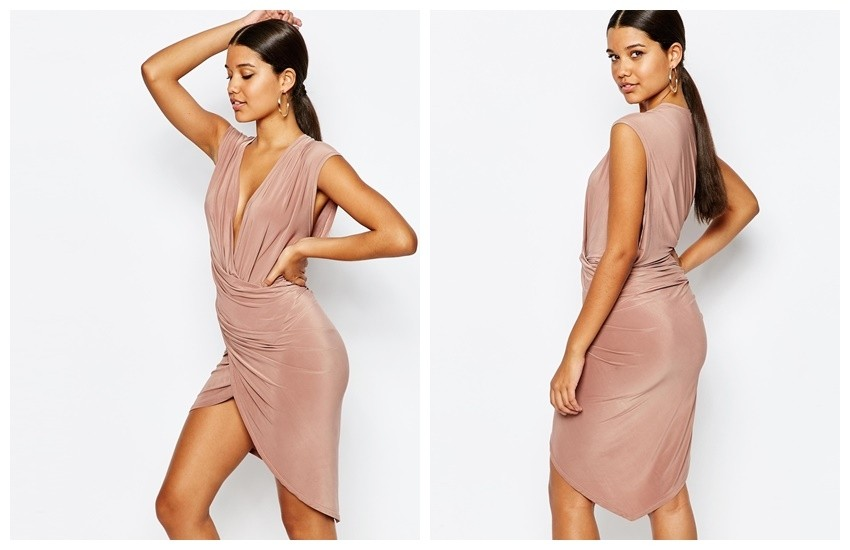Club L Wrap Front Midi Dress (ASOS)