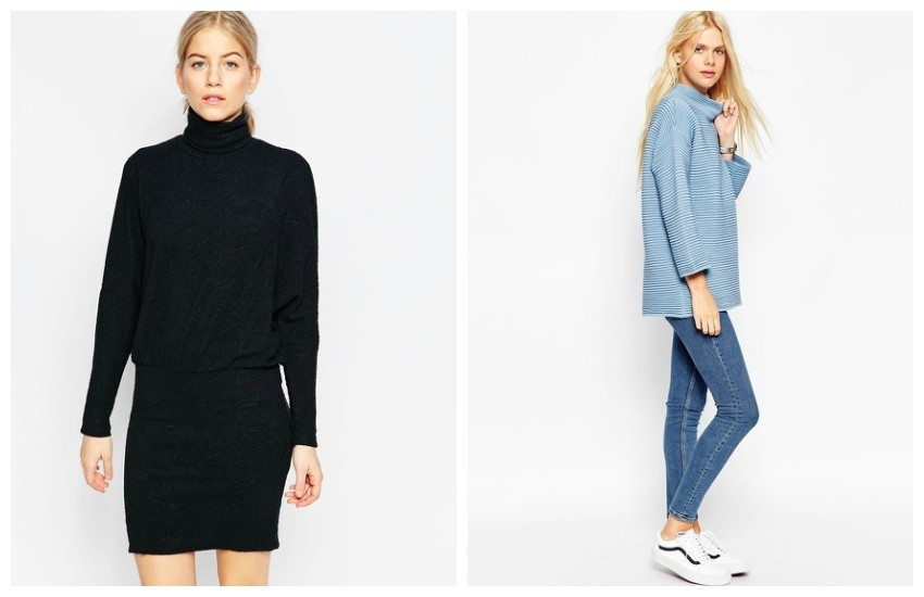 Ganni Turtle Neck Dress // ASOS Jumper in Ripple Stitch with Turtle Neck