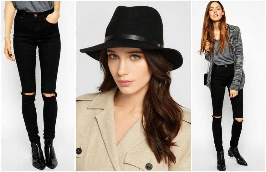 ASOS Ridley Skinny Jeans in Clean Black with Busted Knees // RAG & BONE Leather-trimmed wool-felt fedora