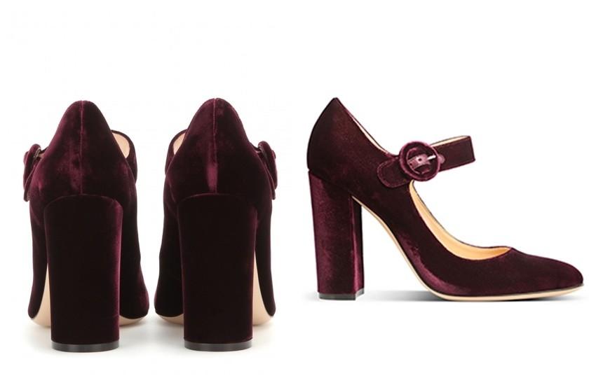 Gianvito Rossi Lorraine Velvet Block Heel Pumps (£445)