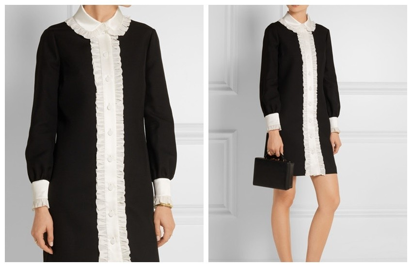 GUCCI Ruffle-trimmed wool and silk-blend crepe shirt dress £1,510