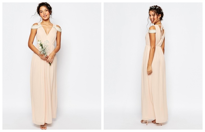 TFNC WEDDING Cold Shoulder Wrap Front Maxi Dress €70.42