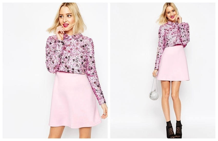 ASOS Premium Embellished Collar Crop Top Skater Dress With Long Sleeves €133.80