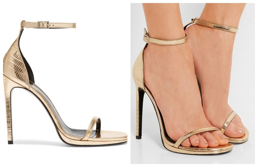 SAINT LAURENT Jane metallic lizard-effect leather sandals £530