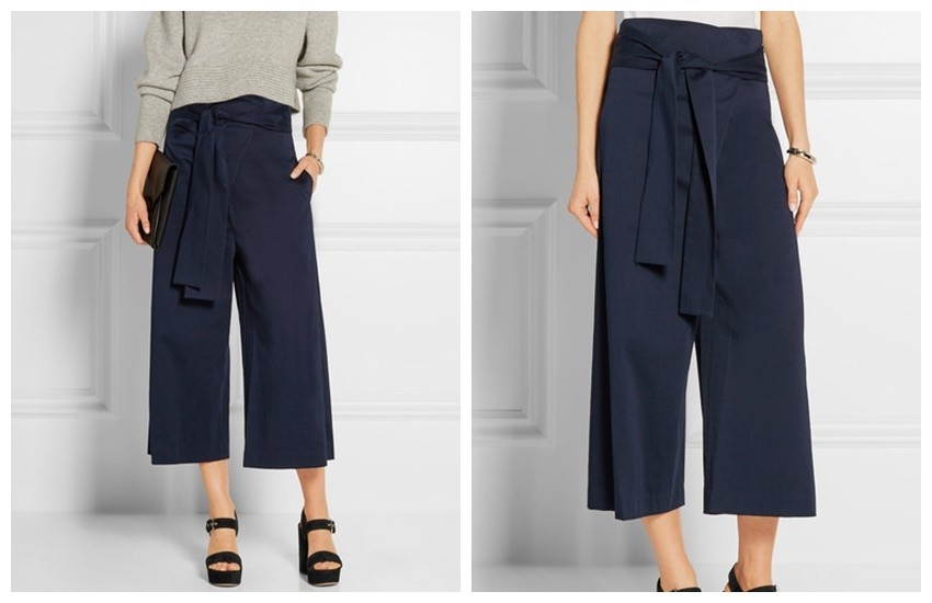 TIBI Barrett cropped cotton-blend twill wide-leg pants £380
