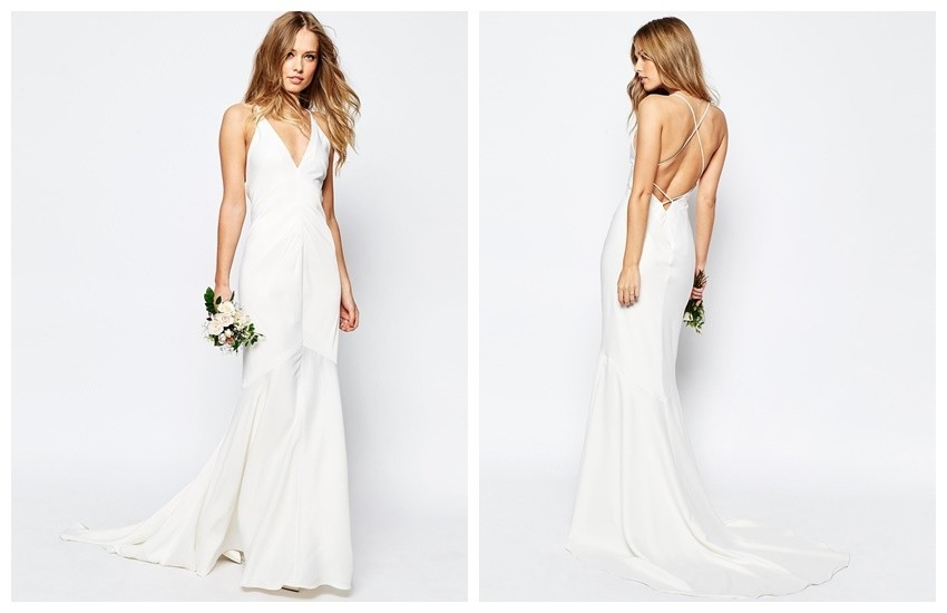 ASOS BRIDAL Deep Plunge Strappy Fishtail Maxi Dress $161.00