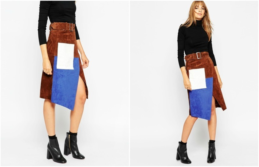 ASOS Suede Wrap Pencil Skirt in Color Block $161.00