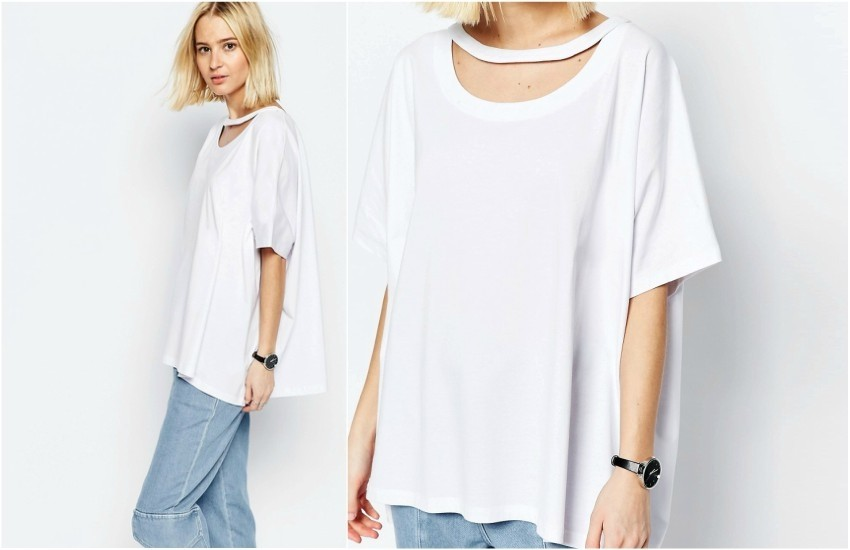 ASOS WHITE Oversized T-Shirt With Cut Out Detail €39.44