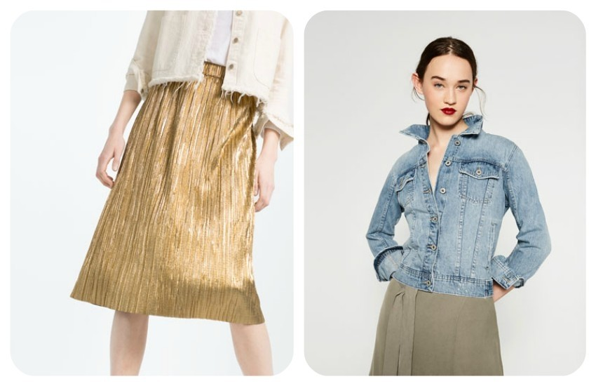 ZARA ACCORDION PLEAT SKIRT 199.90 Kn / ZARA BLEACH WASH DENIM JACKET  249.90 Kn