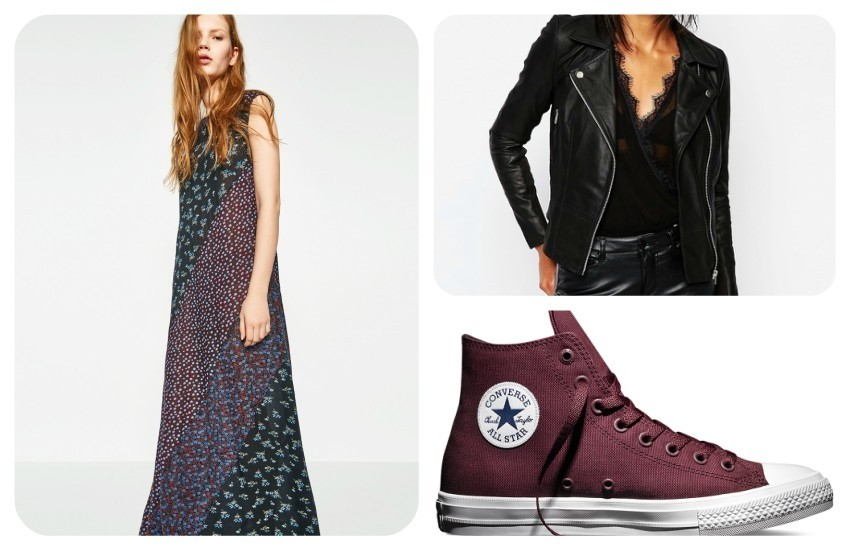 ZARA LONG PATCHWORK DRESS 249.90 Kn / Y.A.S Sophie Soft Leather Biker Jacket €197.18 / Chuck Taylor All Star II £60.00
