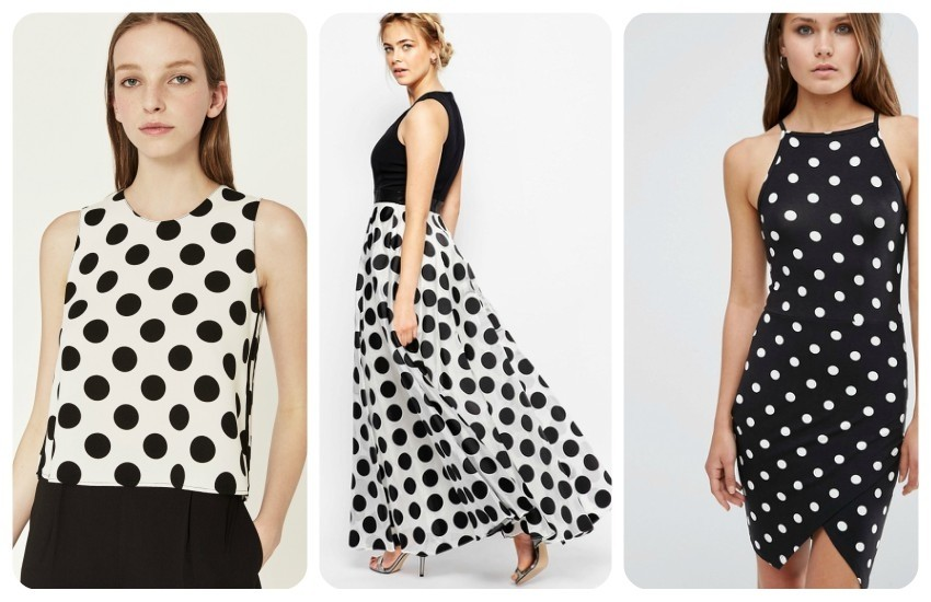 ZARA POLKA DOT TOP 199.90 Kn / Coast Polka Dot Maxi Dress $241.00 / ASOS PETITE 90s Asymmetric Bodycon Dress in Spot Print With High Neck $36.00