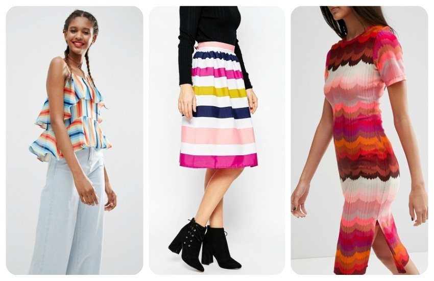 ASOS Tiered Cami In Rainbow Stripe $46.00 / Brave Soul Rainbow Stripe Midi Skirt $25.00 / ASOS Rainbow Bright Pencil Dress $65.00