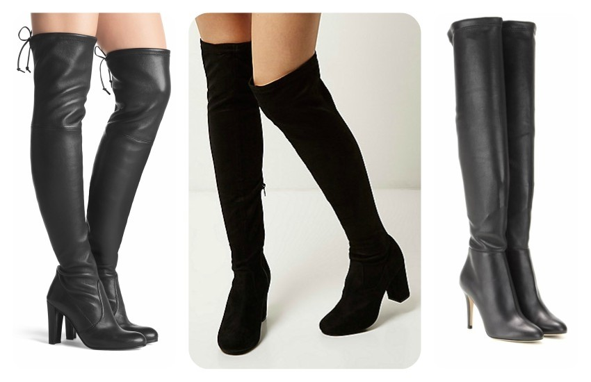 STUART WEITZMAN HIGHLAND €865 / River Island Black over the knee boots £75.00 / JIMMY CHOO Toni leather over-the-knee boots £ 1,150