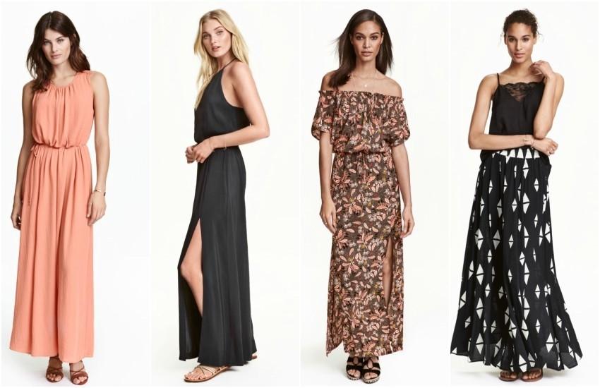 H&M Maxi Dress, H&M Patterned Off-the-Shoulder Maxi Dress